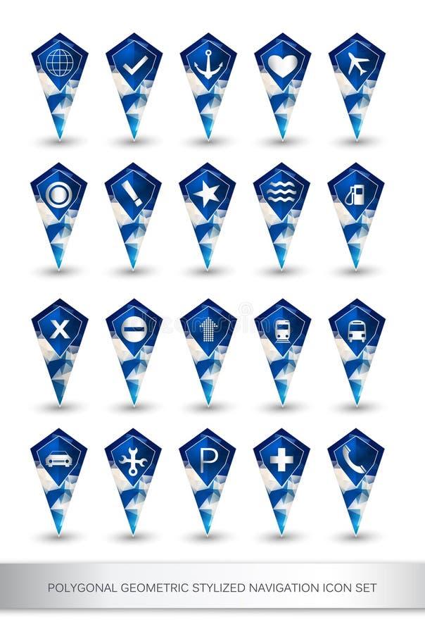 多角形几何风格化航海象集合 库存例证