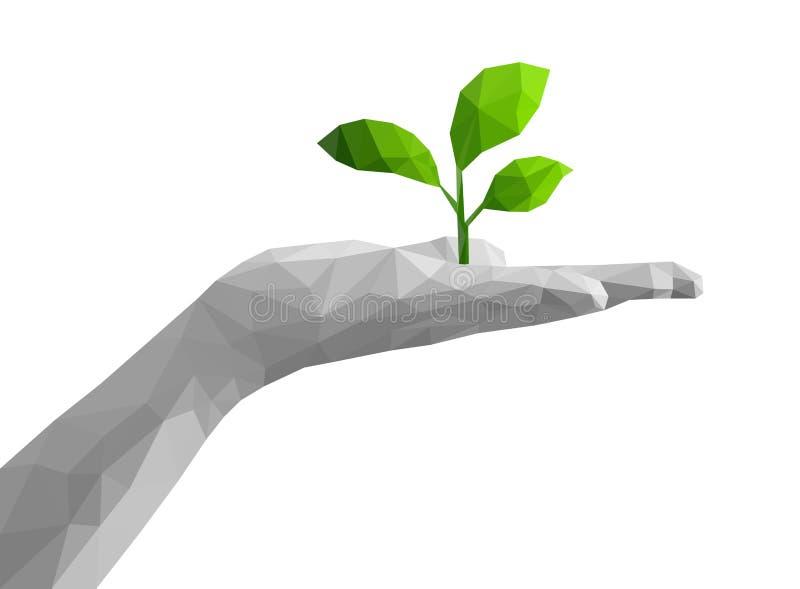 多角形单色棕榈开放手拿着绿色植物 向量例证
