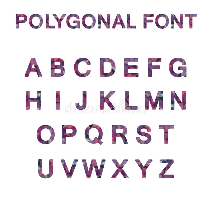 多角形字体字母表紫色桃红色颜色 向量例证