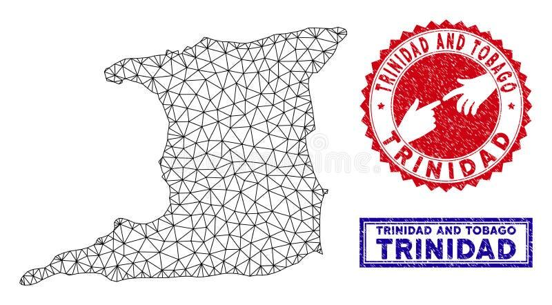 多角形导线框架特立尼达岛地图和难看的东西邮票 皇族释放例证