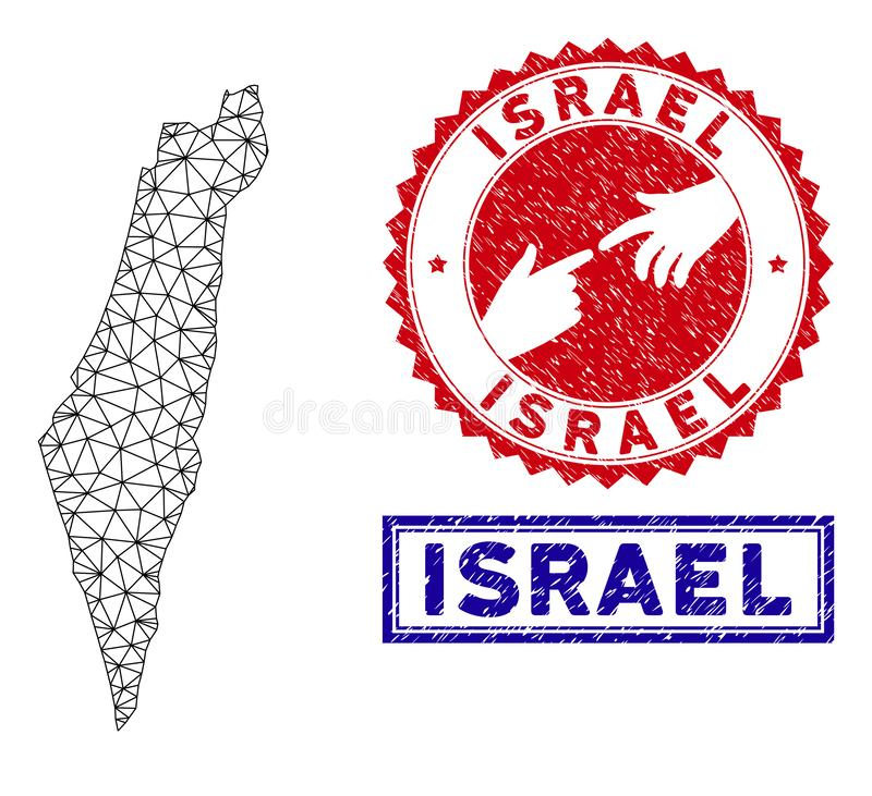 多角形尸体以色列地图和难看的东西邮票 向量例证