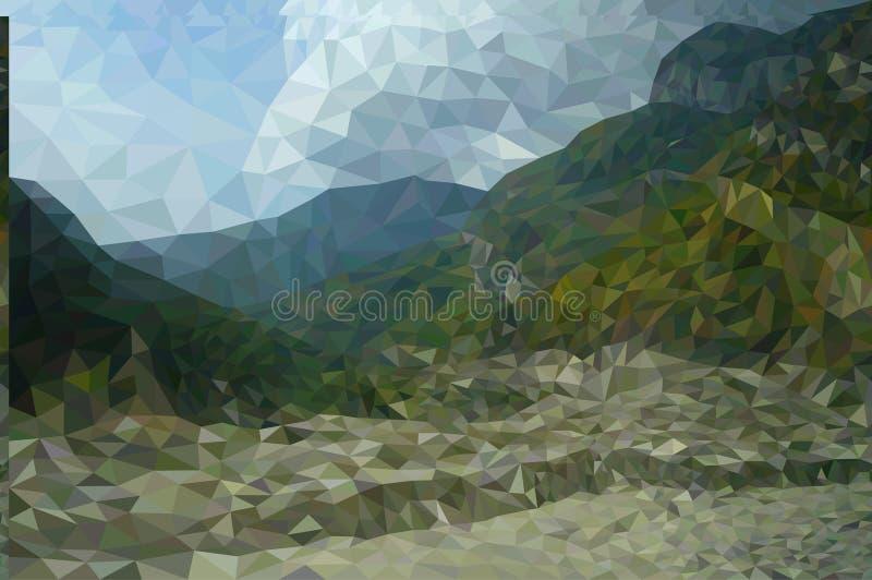 多角形山风景 免版税库存照片