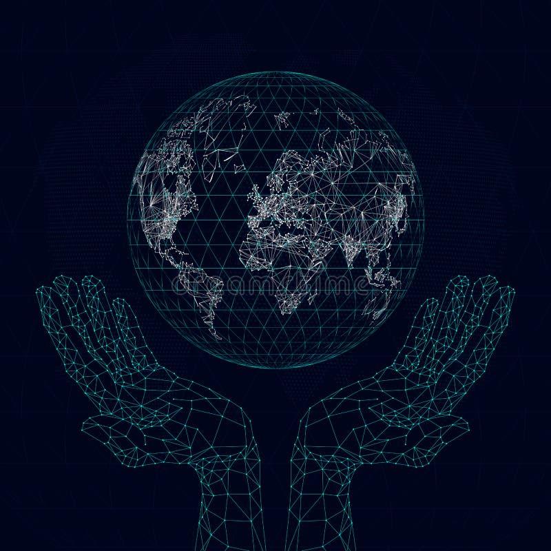 多角形手拿着通信行星地图  库存例证