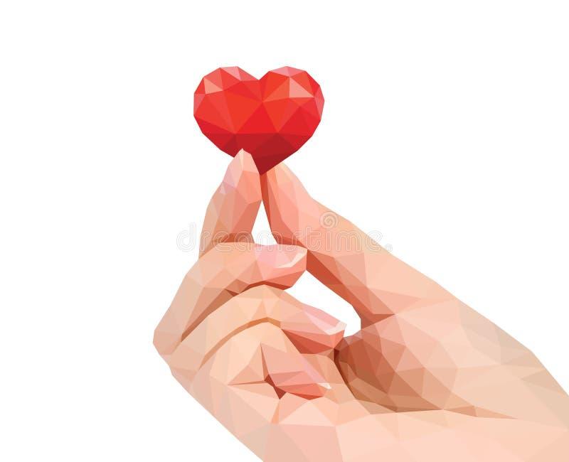 多角形手演播室照片在手指保留多角形心脏 库存例证