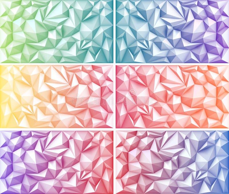 多角形抽象多角形几何三角多彩多姿的绿色橙黄蓝色红色桃红色紫色紫罗兰色背景 库存例证