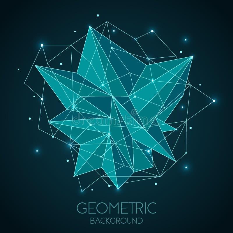 多角形抽象未来派模板,在深蓝背景的低多标志 传染媒介线、小点和三角形状 向量例证