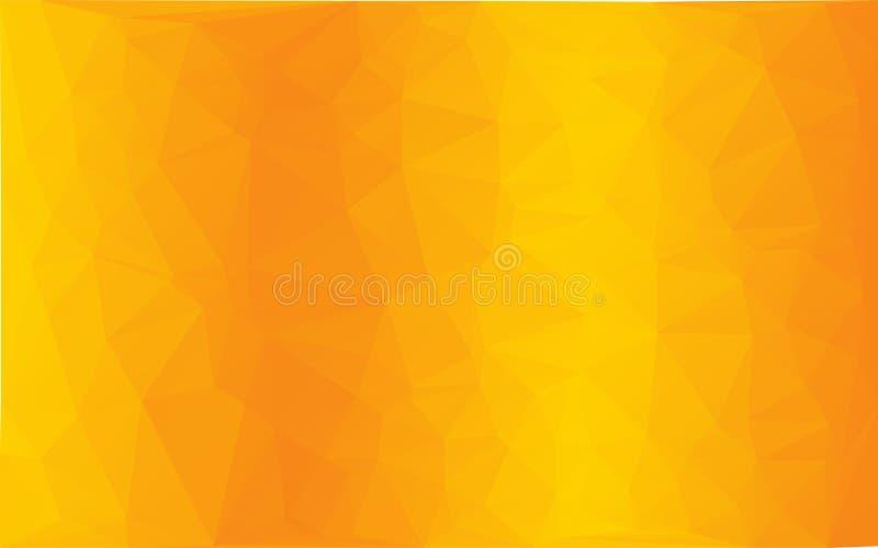 多角形抽象马赛克传染媒介橙黄双重背景 库存例证