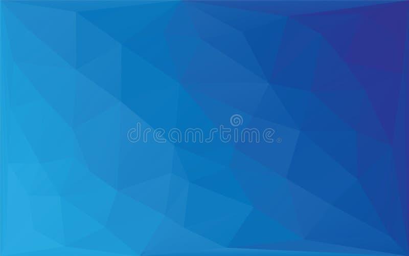 多角形抽象马赛克传染媒介背景,三角低多样式蓝色梯度例证图表背景 皇族释放例证