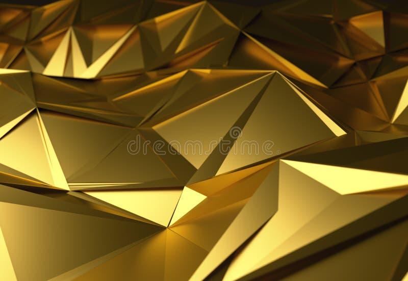 多角形抽象3d例证的金子,设计的低多形状 免版税库存图片