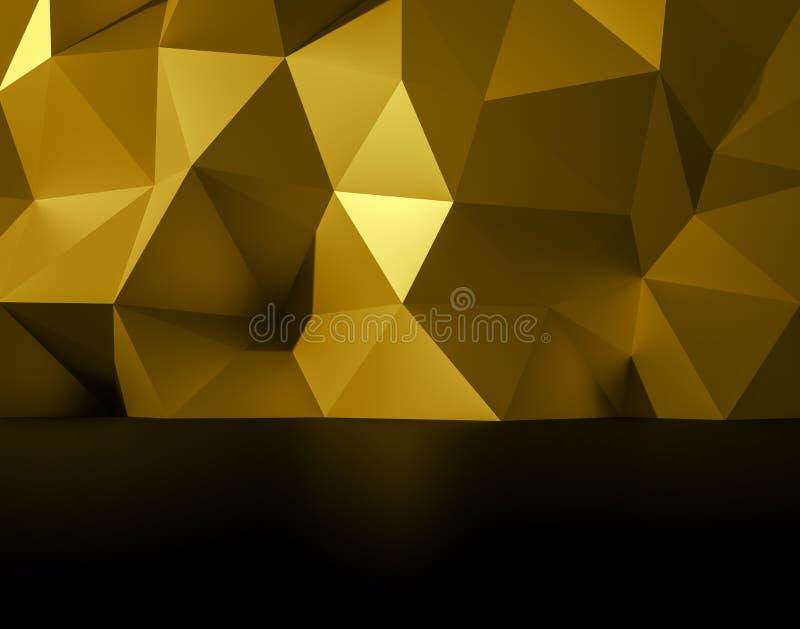 多角形抽象3d例证的金子,设计的低多形状 免版税库存照片