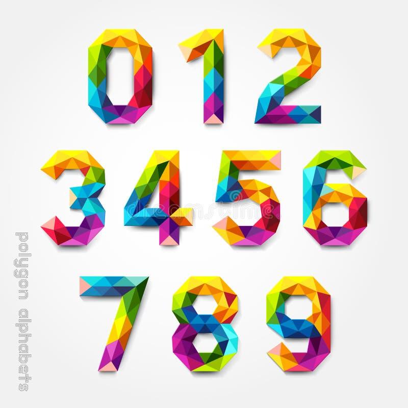 多角形数字字母表五颜六色的字体风格。 向量例证