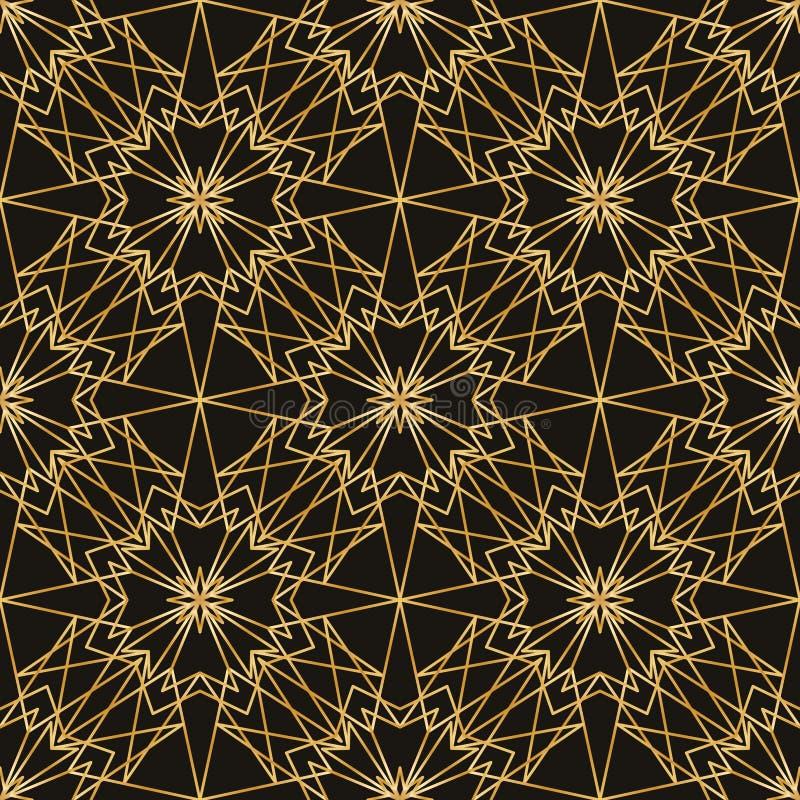 多角形星对称金黑暗的无缝的样式 向量例证