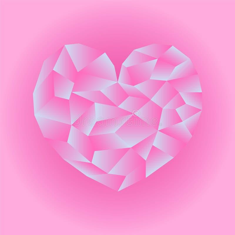 多角形桃红色心脏例证 在桃红色背景正方形图象的心脏象 向量例证