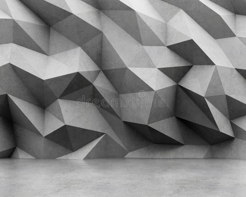 多角形混凝土墙和水泥地板 库存例证