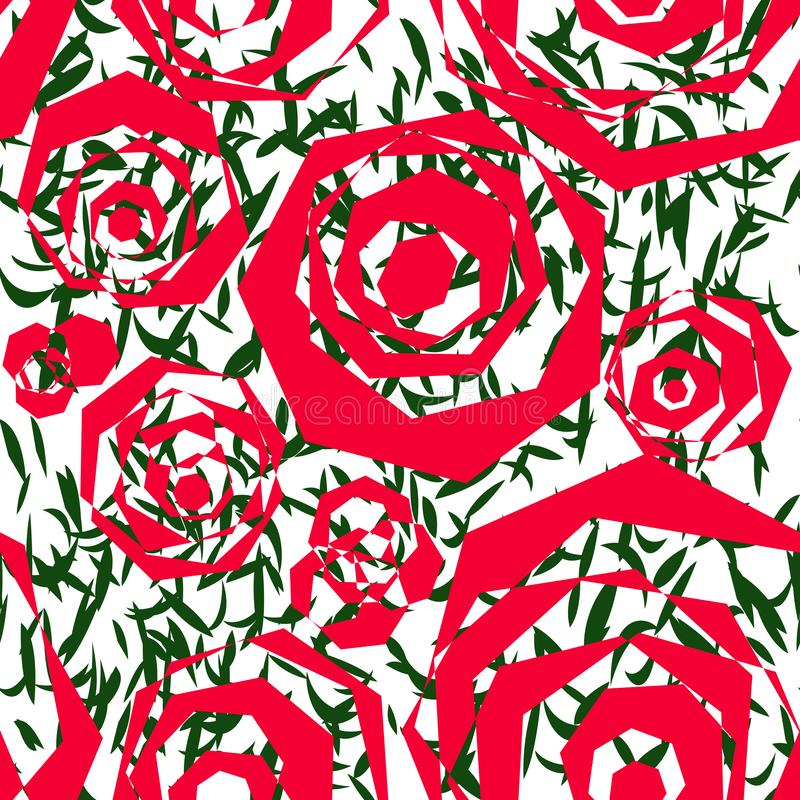 多角形红色元素的无缝的抽象样式相似与风格化玫瑰和绿色叶子 库存照片