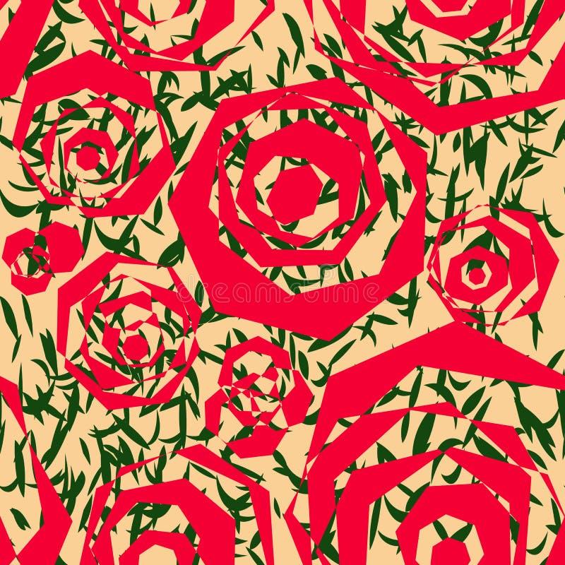 多角形红色元素的无缝的抽象样式相似与风格化玫瑰和绿色叶子 向量例证