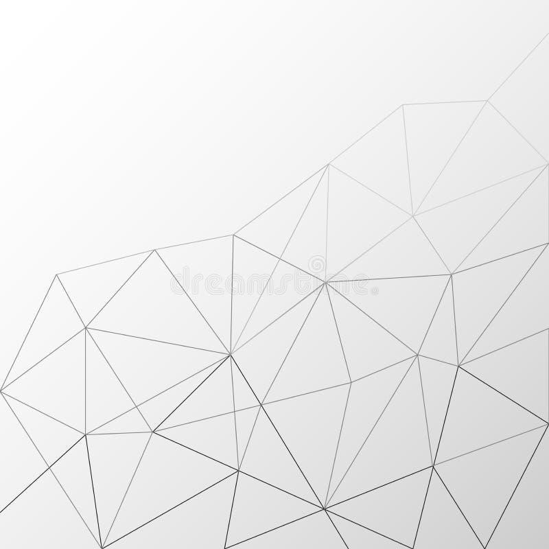 多角形线在Gradated浅灰色的背景中构造 库存例证