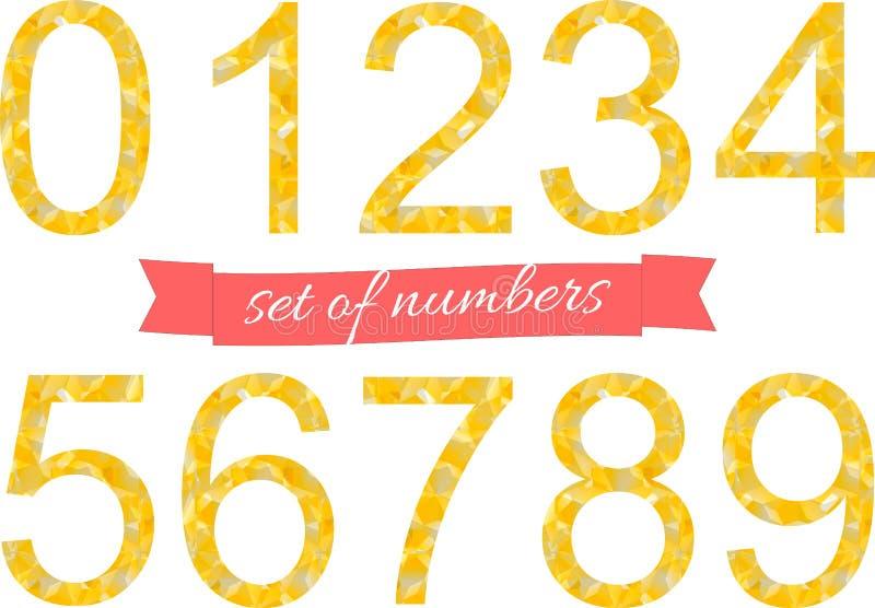 多角形编号五颜六色的字体风格 也corel凹道例证向量 库存例证
