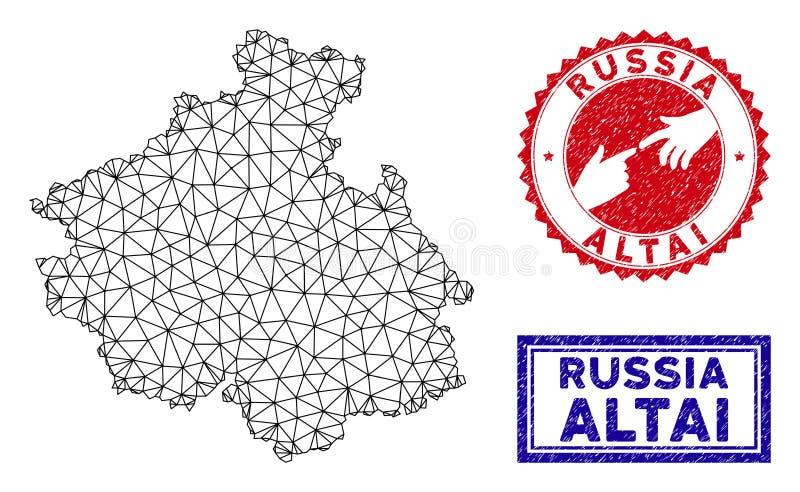 多角形网络阿尔泰共和国地图和难看的东西邮票 库存例证