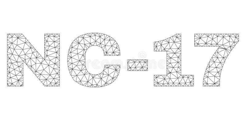 多角形网络NC-17文本标记 向量例证