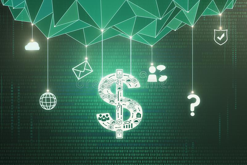 多角形美元的符号墙纸 向量例证