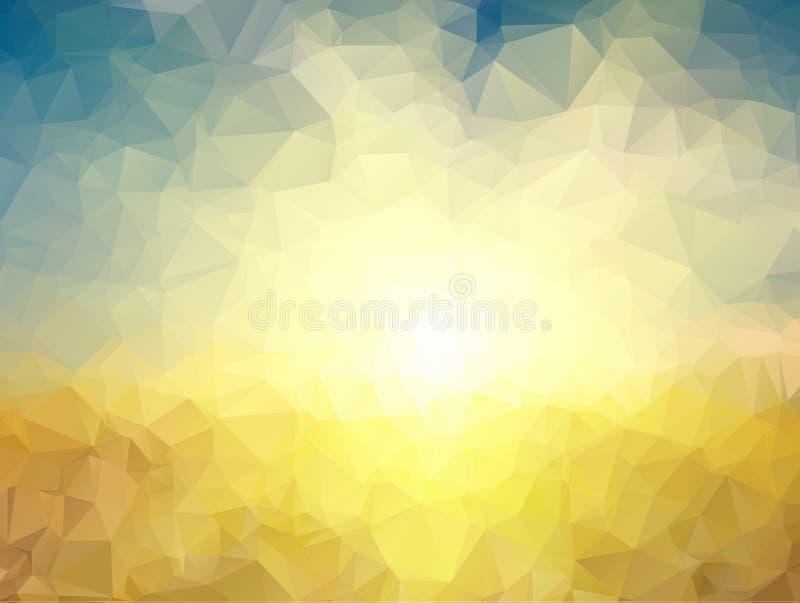 多角形背景 黄色和蓝色多角形 库存例证