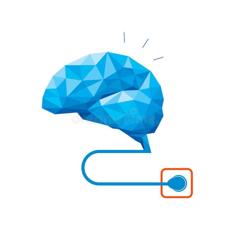 多角形脑子设计接通 皇族释放例证