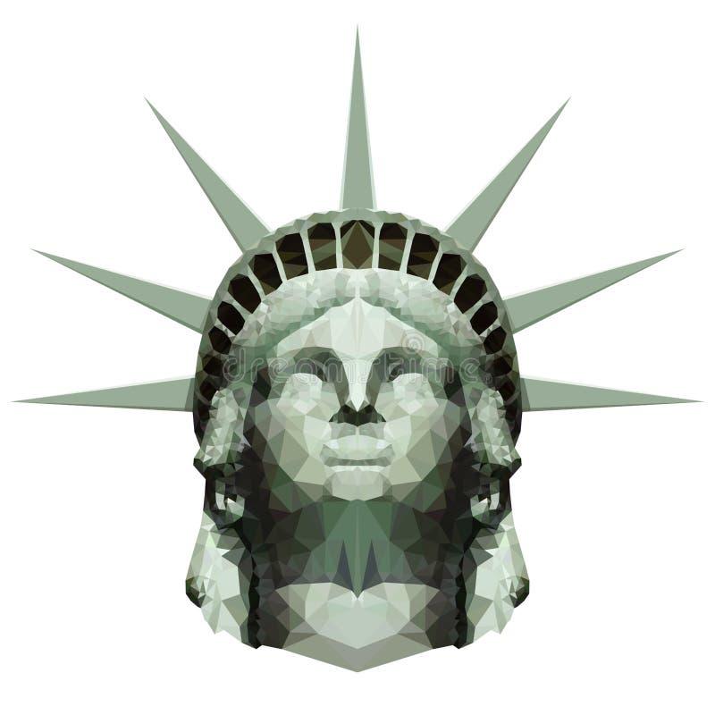 多角形自由女神像头 免版税库存照片