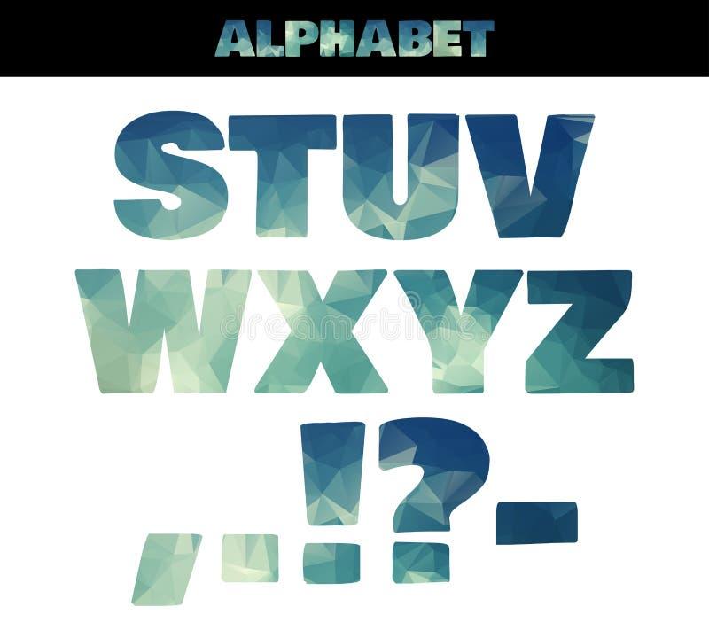 多角形被绝缘的五颜六色的字母表字体风格 在海洋夏天样式的传染媒介例证 第3.部分 向量例证