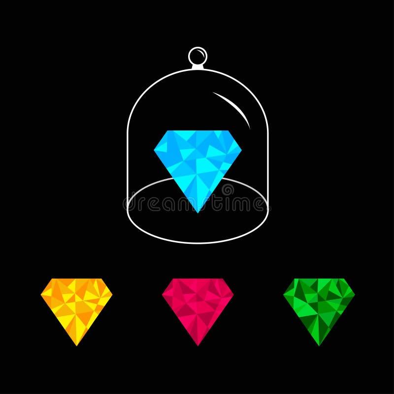 多角形金刚石集合 桃红色,蓝色,黄色,绿色 玻璃响铃盖子盖帽 半球形与把柄的盒盖圆顶 黑色背景 向量例证