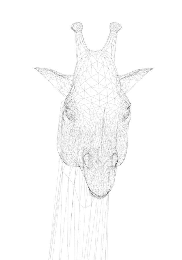 多角形长颈鹿头 o 一头长颈鹿的头从黑线的在白色背景 r 库存例证