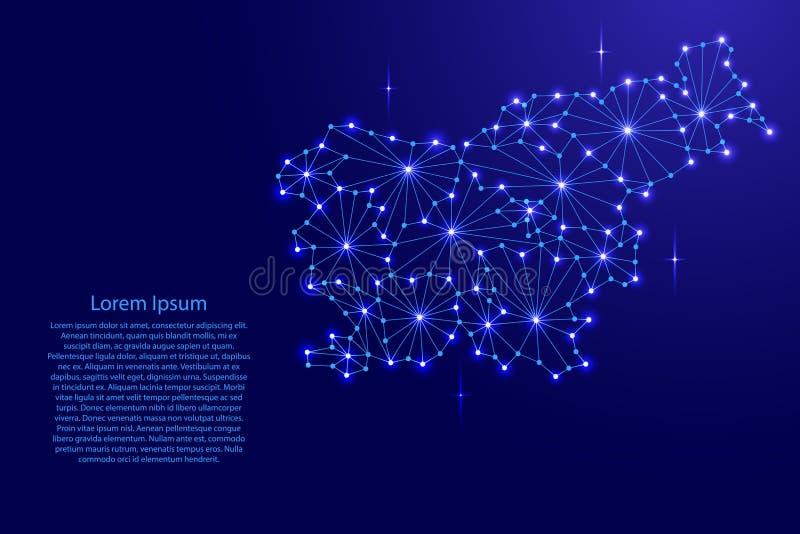 多角形马赛克斯洛文尼亚地图排行网络,光芒,空间星 皇族释放例证