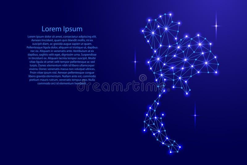 多角形马赛克泰国地图排行网络,光芒,例证空间星  皇族释放例证