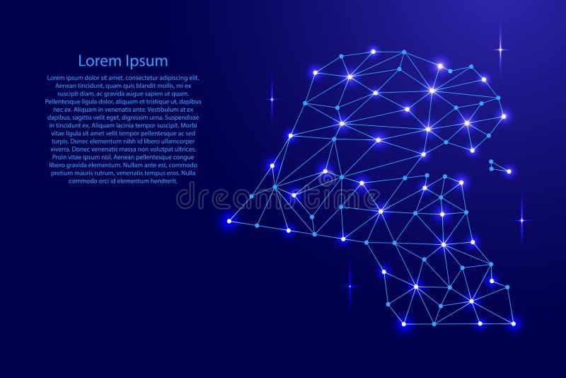 多角形马赛克科威特地图排行网络,光芒,例证空间星  向量例证