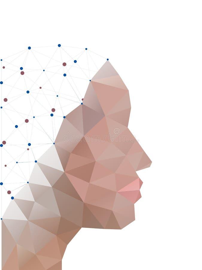 多角形头  人的抽象形式 库存例证