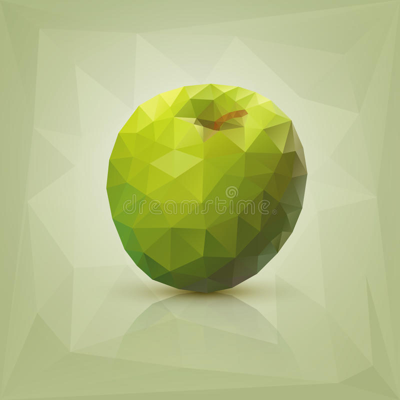 多角形绿色苹果 库存例证