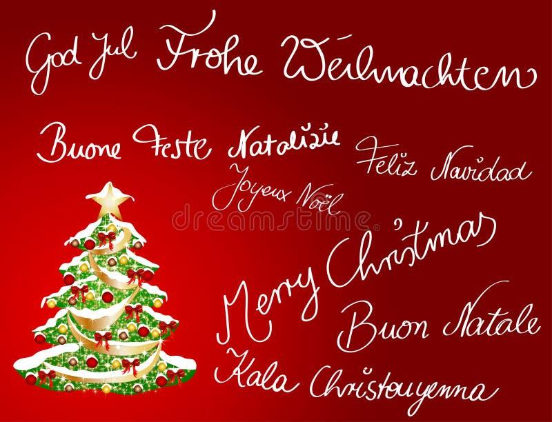 多语种的christmascard 免版税库存图片