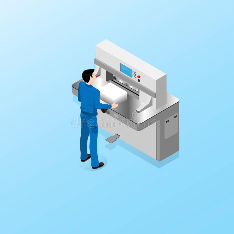 多重图的中心的工作者进行切割机的操作员的责任 向量例证