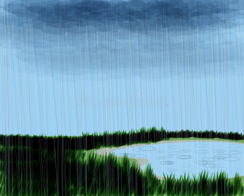 多雨场面 库存例证