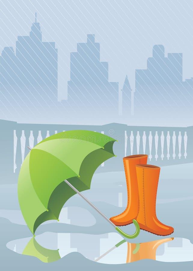 多雨的日 向量例证