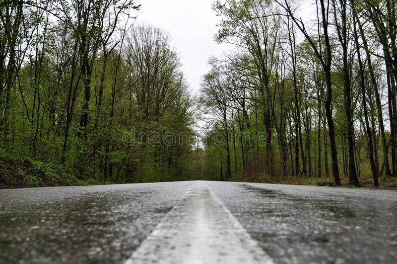 多雨路在Valeni 库存照片
