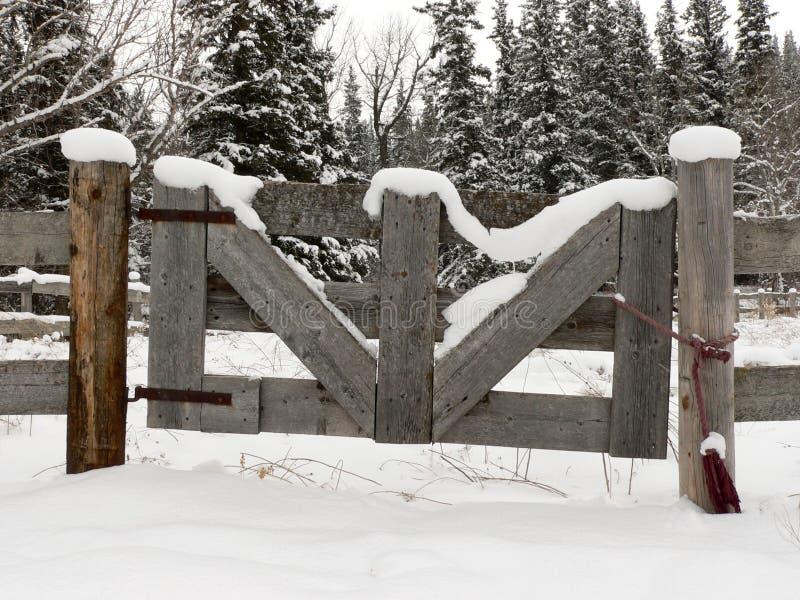 多雪农厂的门 免版税库存照片