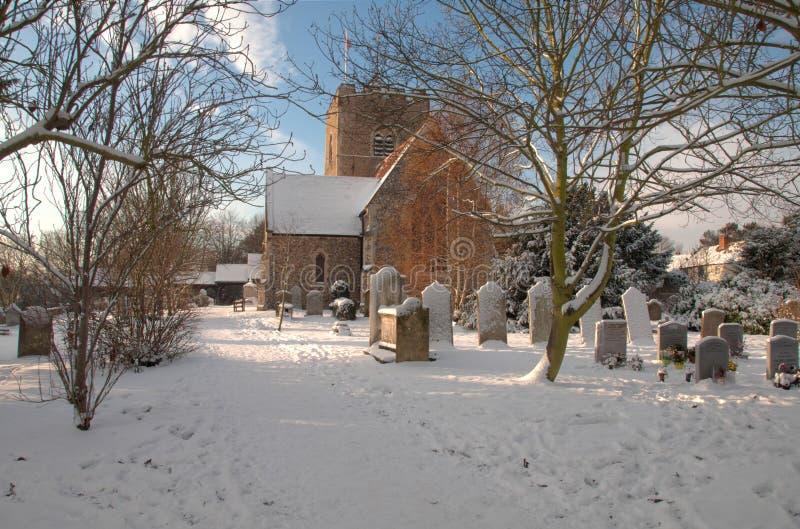 多雪圣诞节的教会 免版税图库摄影