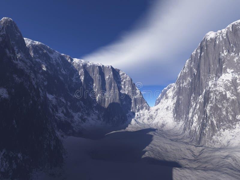 多雪峡谷的山 库存例证