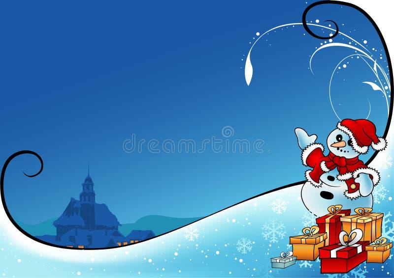 多雪的圣诞节 库存例证