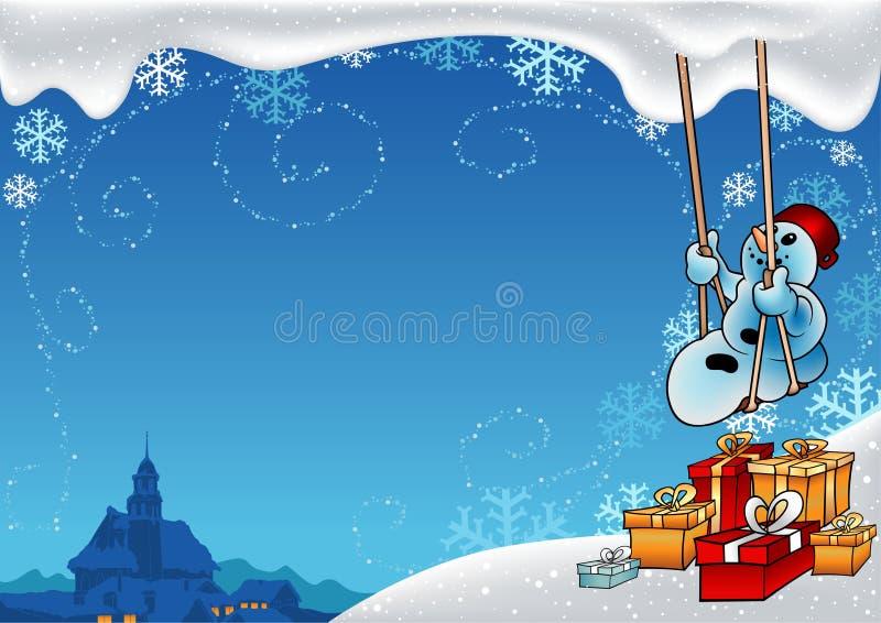 多雪的圣诞节 向量例证