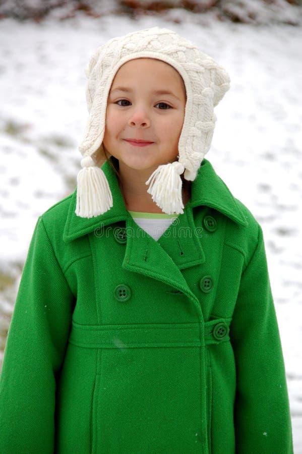 多雪的女孩 图库摄影
