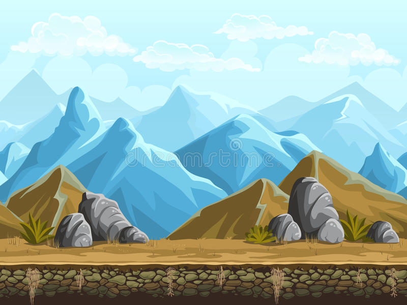 多雪的山无缝的背景  皇族释放例证