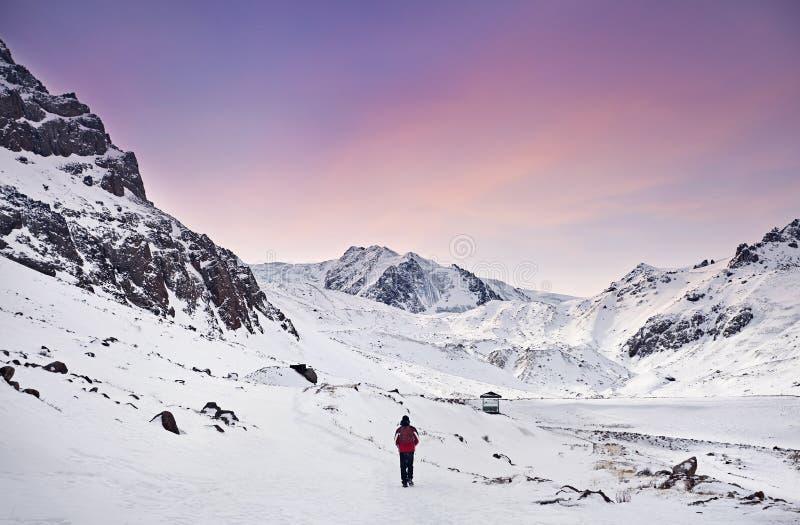 多雪的山的远足者 免版税库存图片