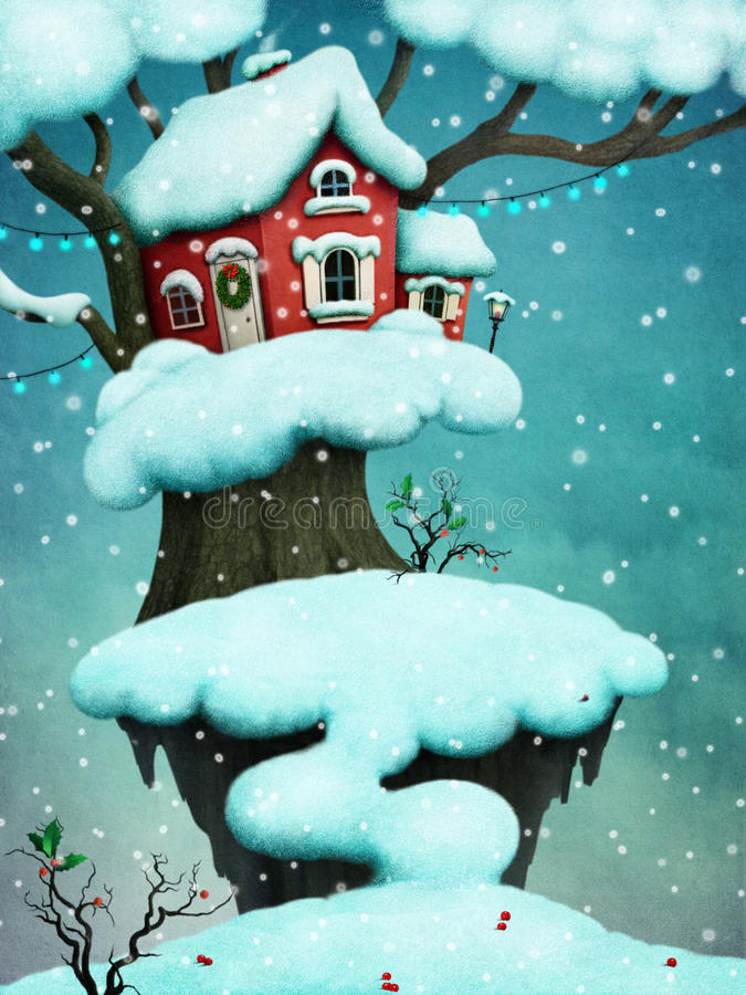 多雪的树的幻想房子 皇族释放例证